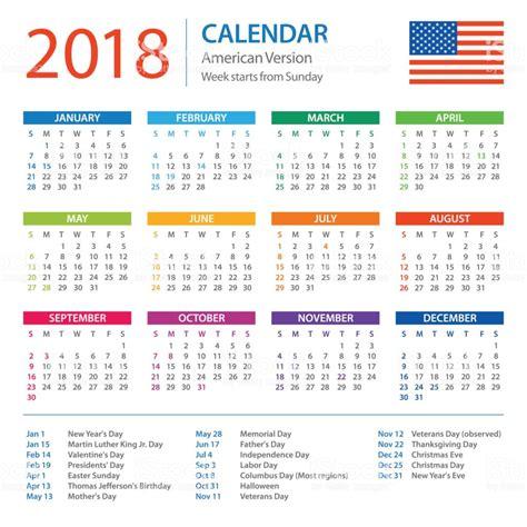 2018 2019 Calendar with Holidays