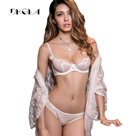 Aliexpress.com : Buy White Lace Bra Set 1/2 Cup Hollow Out ...