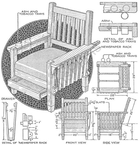 morris chair plans with newspaper rack free plans