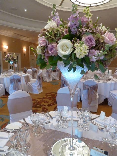 Martini Vase Arrangement Of Roses And Stocks Tall Wedding