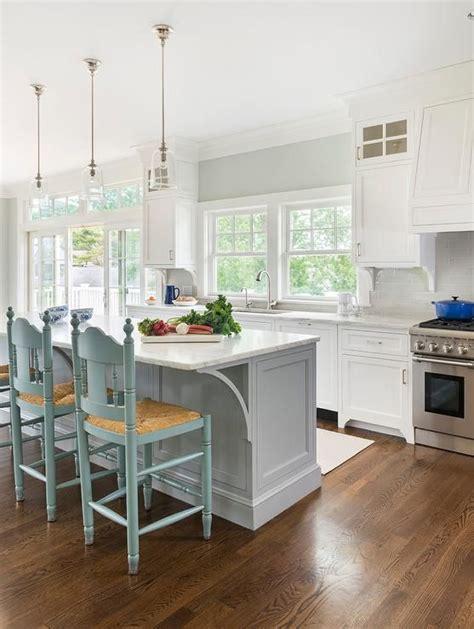gorgeous white kitchens  coloured islands