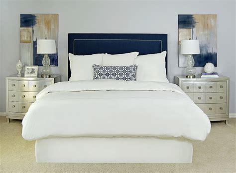 navy upholstered headboard transitional bedroom ej