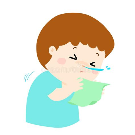 boy sneezing hard stock vector illustration
