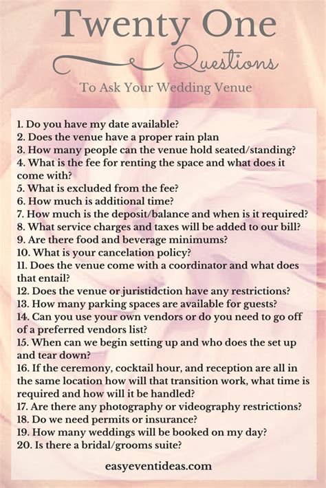 questions to ask wedding venue 21 questions to ask your wedding venue easy event ideas