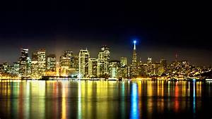San Francisco builddings skyscrapers bay water reflection ...