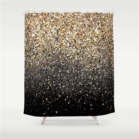 gold sequin shower curtain black gold sparkle shower curtain by ldor society6