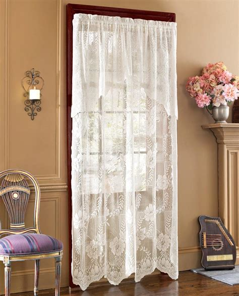 lace curtains with attached valance lace curtain panel with attached valance ebay