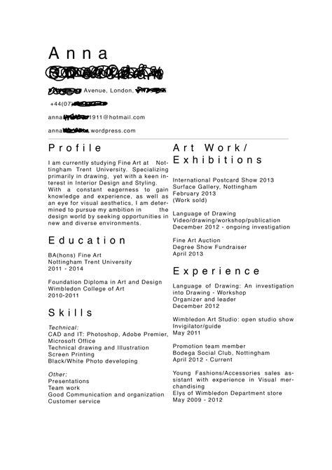Artist Resume by Your Creative Cv And Design Employability