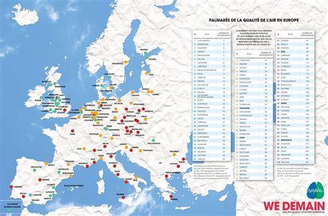 Carte Pollution Europe by Pollution De L Air Le Palmar 232 S Des 100 Villes D Europe O 249