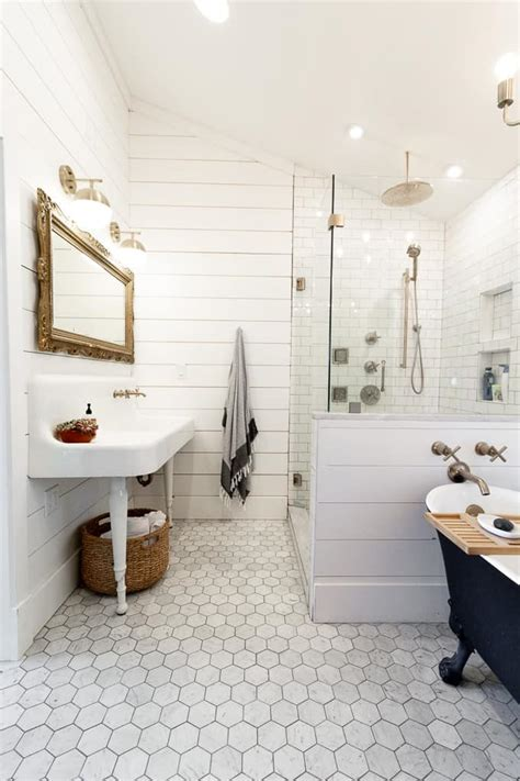 Discount Bathroom Fixtures by Modern Black And White Bathroom With Brass Accents