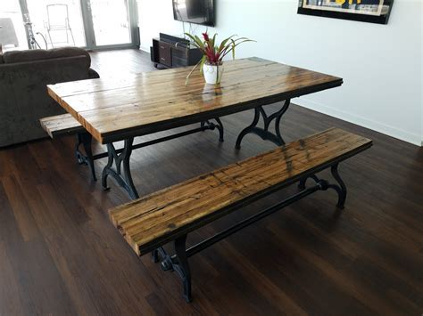 Reclaimed Oak Boxcar Plank Table with benches, Recycled