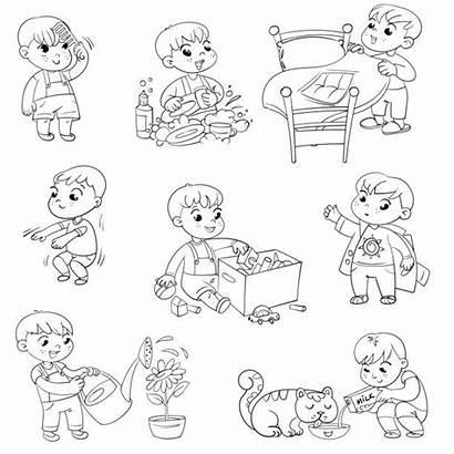 Vector Routine Daily Activities Cartoon Digger Illustrations
