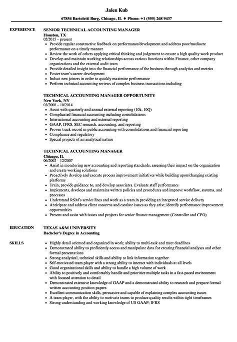 Resume For Accounting Manager by Technical Accounting Manager Resume Sles Velvet