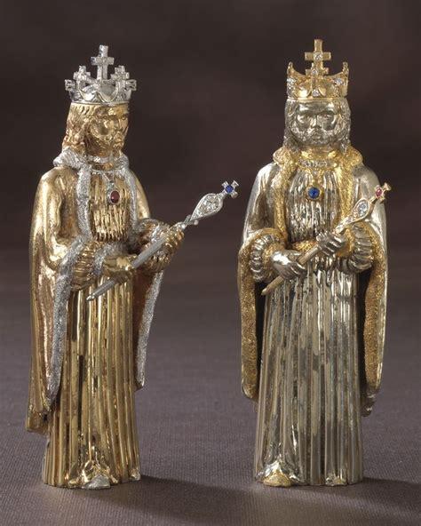 custom  gold chess set    circa