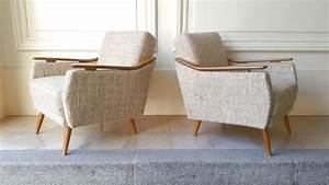 Fauteuil Bois Et Tissu : fauteuil club vintage en bois et tissu gris 1950 ~ Melissatoandfro.com Idées de Décoration