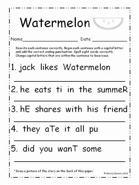 sentence worksheets   grade sentence writing