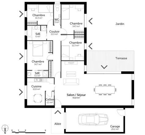 plan maison en l plain pied 3 chambres plan maison plain pied en l avec 4 chambres ooreka