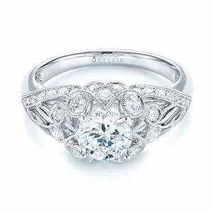 vintage inspired diamond engagement ring 103059 With vintage inspired wedding ring