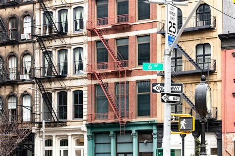 Colorful New York City Apartment by Apartment Buildings City Stock Images