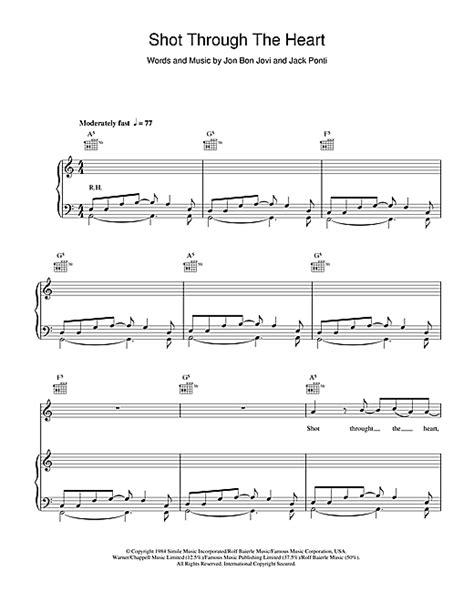 Shot Through The Heart Sheet Music Bon Jovi Piano