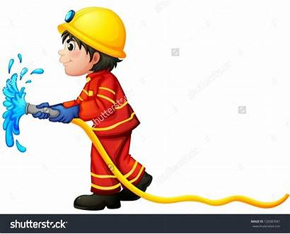 Hose Fire Clipart Water Fireman Holding Illustration