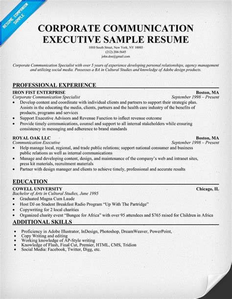 corporate communication executive sle resume