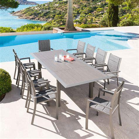 hesperides salon de jardin table extensible alu gris mastic 10p hesp 233 ride 10