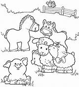 Coloring Farm Pages Animals Farmer Horse Pig Fence Activities Crafts Diy Jennys sketch template