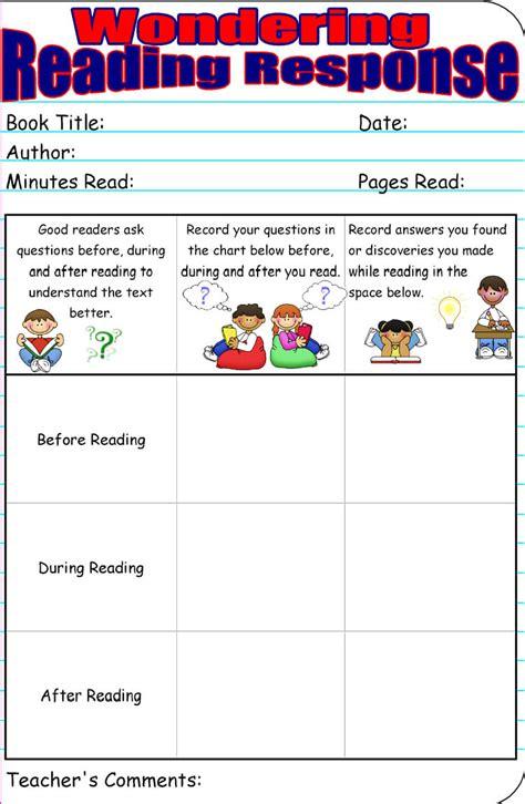 reading response worksheet templates word