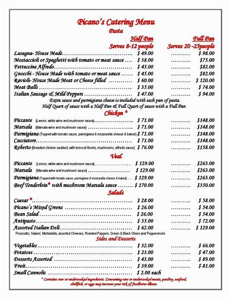 garden catering menu olive garden menu