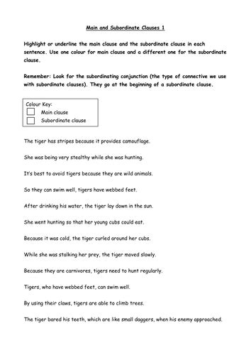 and subordinate clauses worksheet by uk teaching