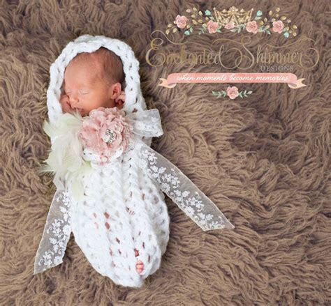 enchanted shimmer white baby girl cocoon   perfect