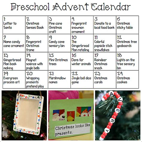 printable advent calendar for preschoolers 945 | Printable Advent Calendar for Preschoolers links to fun art sensory snack and science ideas for each day before Christmas