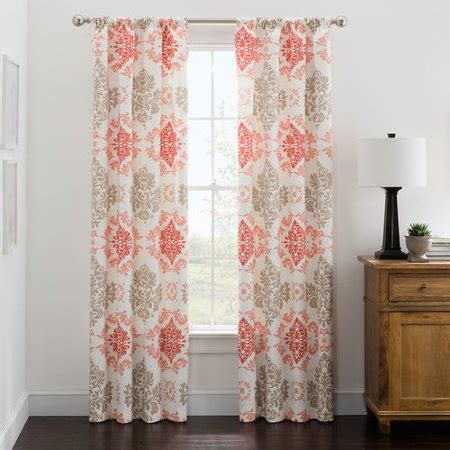 coral patterned curtains mainstays microfiber print foam back single panel curtains