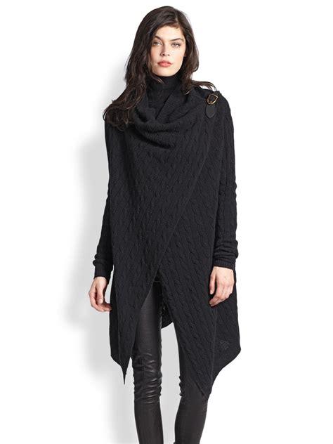 wrap sweater cardigan polo ralph wool wrap sweater in black lyst
