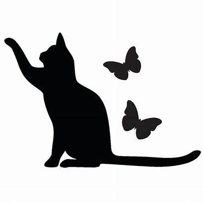 Silhouette Cat Chat Butterfly Sticker Clipart Kitten