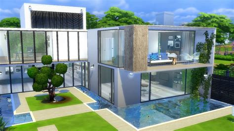 sims  modern house speed build youtube