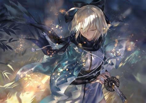 sakura saber black scarf wind katana