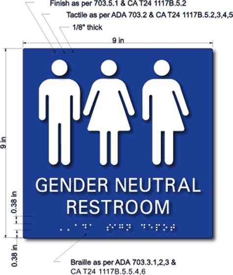 Gender Inclusive Bathroom Sign by Gender Neutral Symbols Restroom Tactile Braille Signs