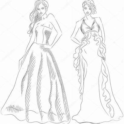 Coloring Dresses Coloriage Robe Mode Dessin Sketch