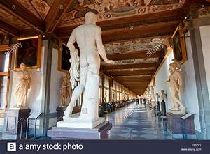 Europe, Italy, Florence, Interior of Galleria degli Uffizi ...