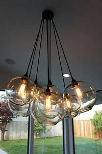 Clear Pendant Lights Modern Glass Globe Chandelier W Edison Lights By