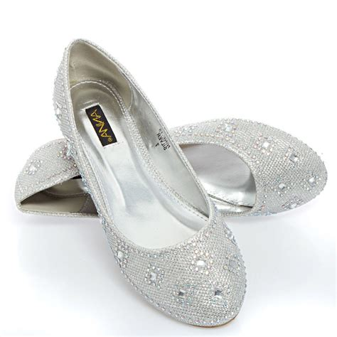 flat silver shoes womens silver wedding bridal prom glitter rhinestone