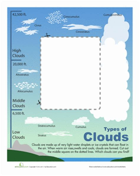 identifying clouds science weather science worksheets