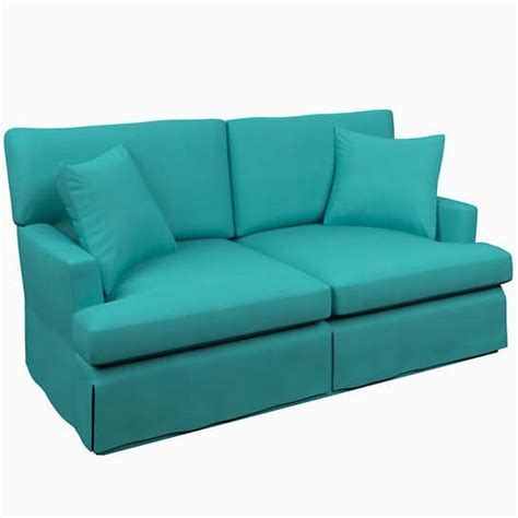 turquoise sofas loveseats estate linen turquoise saybrook 2 seater slipcovered sofa