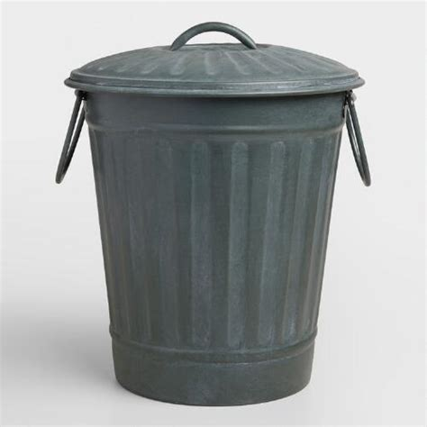 Metal Bathroom Garbage Can by Large Steel Gray Retro Metal Trash Can World Market