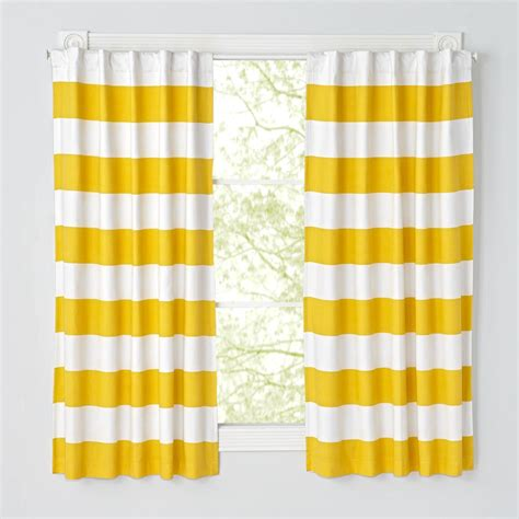 96 yellow and white striped curtain the land of nod