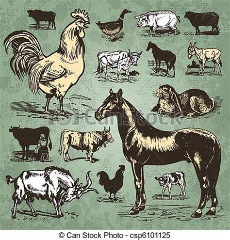 clipart vector  farm animals vintage set vector set