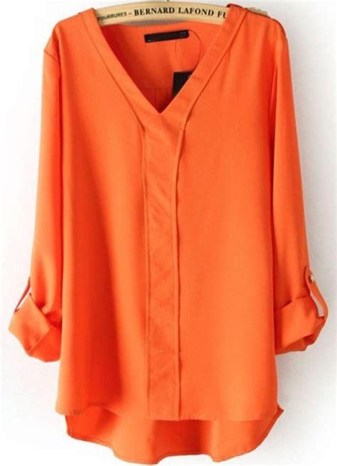 orange blouses orange v neck sleeve rivet dipped hem blouse