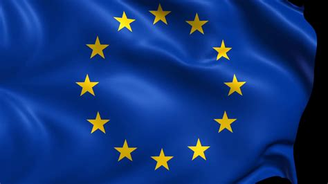 Flag Of The European Union. 3d Animation Of The European